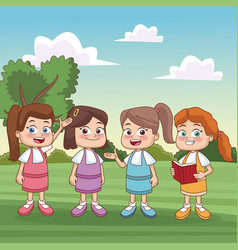 students kids at park vector image