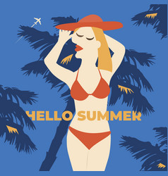 summer girl poster vacation vector image