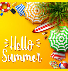 summer holidays background in the yellow beach vector image