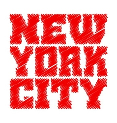 T shirt typography graphics New York red drawn vector image