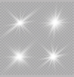 Transparent sunlight lens flare light effect star vector