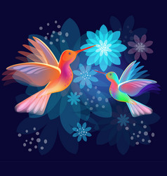 two hummingbirds with flowers on dark blue vector image