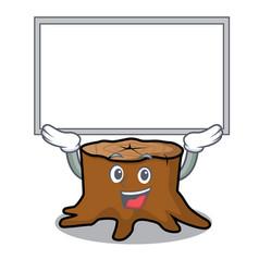 up board tree stump character cartoon vector image