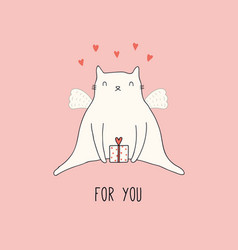 Valentine card with cute cat vector