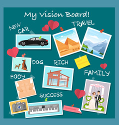 Vision board collage with dreams and goals vector