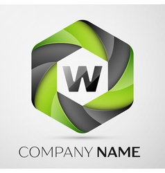 W Letter colorful logo in the hexagonal on grey vector