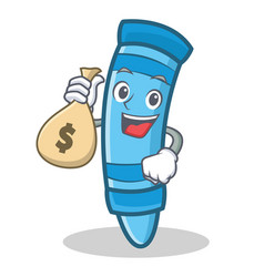 With money bag crayon character cartoon style vector