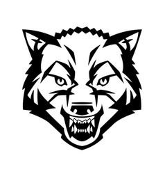 wolf39s head showing teeth vector image