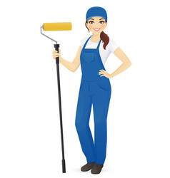 woman painter with roll vector image