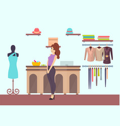 Woman shopping in clothes boutique of mall vector