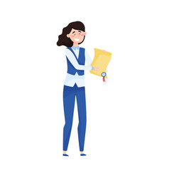 Young woman holding certificate achievement vector