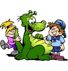 cartoon of a dinosaur having fun with kids vector image