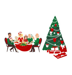 family dinner christmas tree and presents vector image