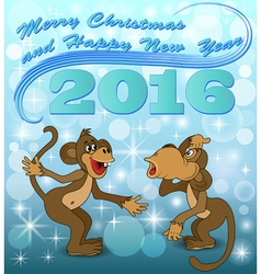holiday card with two monkeys vector image