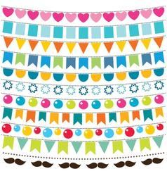Multicolor bunting set vector image vector image