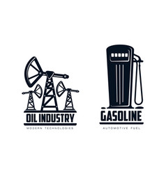 oil derrick pump and fueling station icon vector image