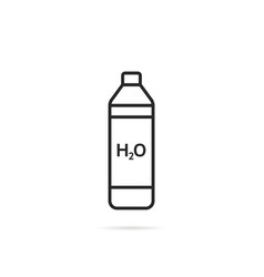 thin line bottle icon with shadow vector image