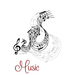 Abstract musical waves composition design vector
