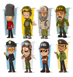 Cartoon soldier and pilot character set vector