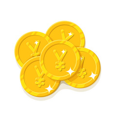 gold chinese yuan or japanese yen coins cartoon vector image