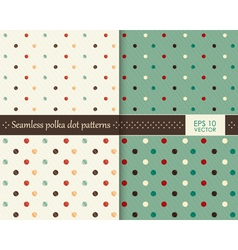 Set seamless colorful polka dot pattern vector