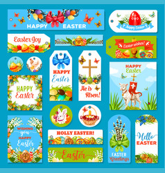easter holiday tag and label set design vector image