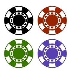 Empty Color Casino Poker Chips Set vector image
