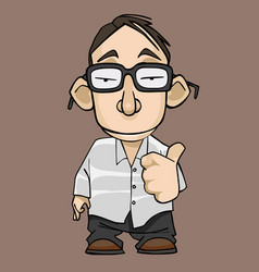 Funny cartoon guy with glasses approvingly vector
