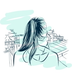 Beautiful womans neck with city viev hand drawn vector