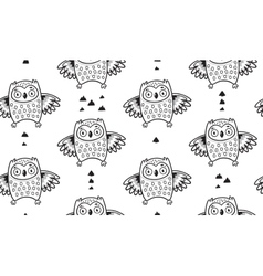 Black and white seamless pattern with owls vector image vector image