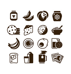 breakfast food silhouette icons isolated vector image