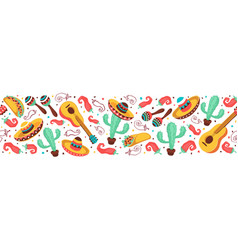 mexican objects banner vector image vector image