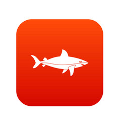 shark fish icon digital red vector image