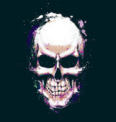 Skull artistic splatter purple n green vector