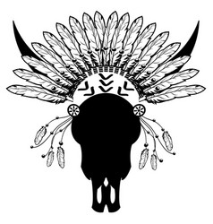 tribal warrior style wild animal skull vector image