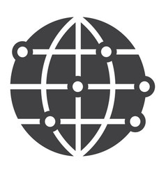 Worldwide solid icon globe and website vector