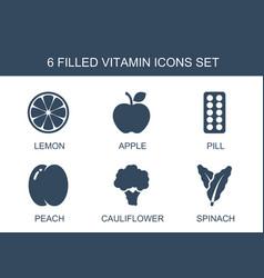 6 vitamin icons vector