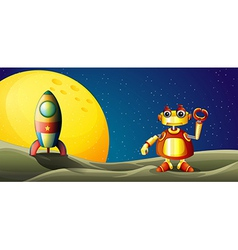 A robot and spaceship in the outer space vector