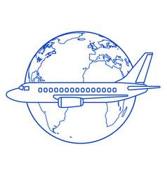Aeroplane and globe contour vector