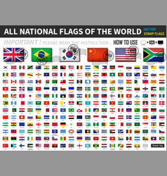 all official national flags world old vector image