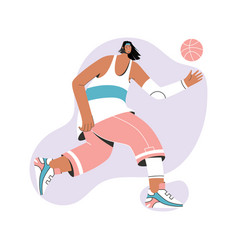 basketball player in uniform running with ball vector image