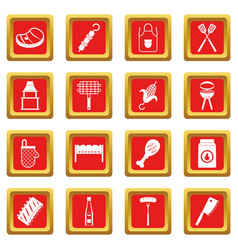 bbq food icons set red vector image