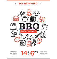 bbq party invitation round design template with vector image
