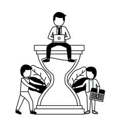 business people hourglass vector image