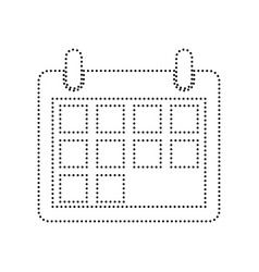 calendar sign black dotted vector image vector image