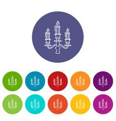 Candelabra candle icons set color vector