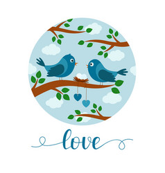 card with couple birds on branch lettering vector image