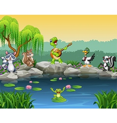 Cartoon happy animals singing collection vector image