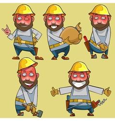 cartoon of a smiling worker in the helmet vector image