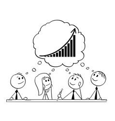 Cartoon of team of businessmen during vector